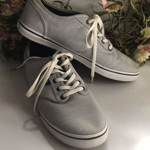 Vans Blue/White Pin Striped Lace Up Sneakers